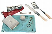 Silver items including 12 American Silver Co. spoons with Art Nouveau inspired design, a rouge case, a cigarette case, marked Sterling, a perfume funnel, and a silver plated knife and fork with mother of pearl handles, together with a 14 karat gold