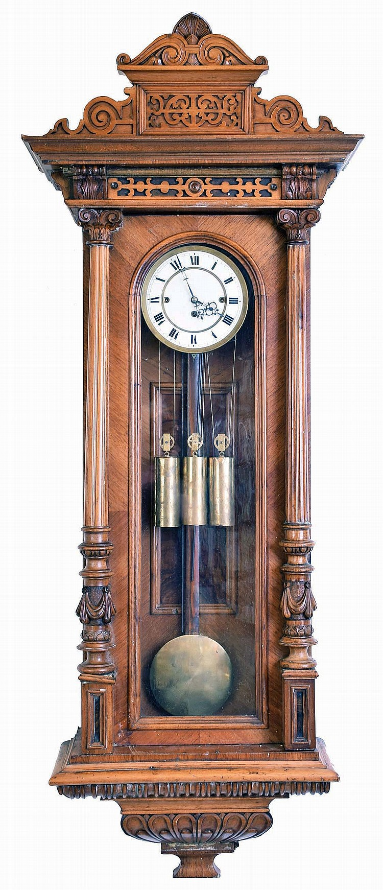 Vienna Regulator, unsigned German walnut 3 weight quarter striking 8 day large hanging wall clock, c1880