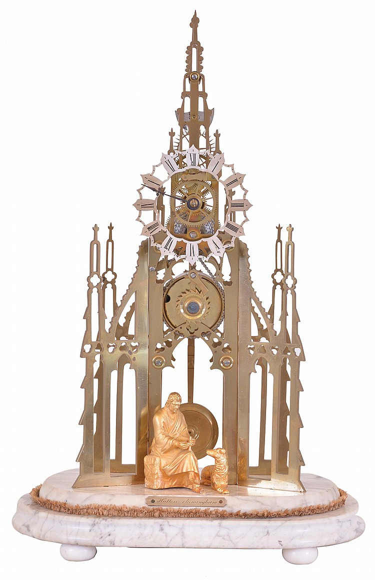 Hutton, Birmingham, Sir Walter Scott memorial skeleton clock, a seated figure of Scott and his dog before the nicely pierced and finished brass frames with Gothic tracery representing the Scott memorial at Edinburgh, Roman numeral, pierced silvered