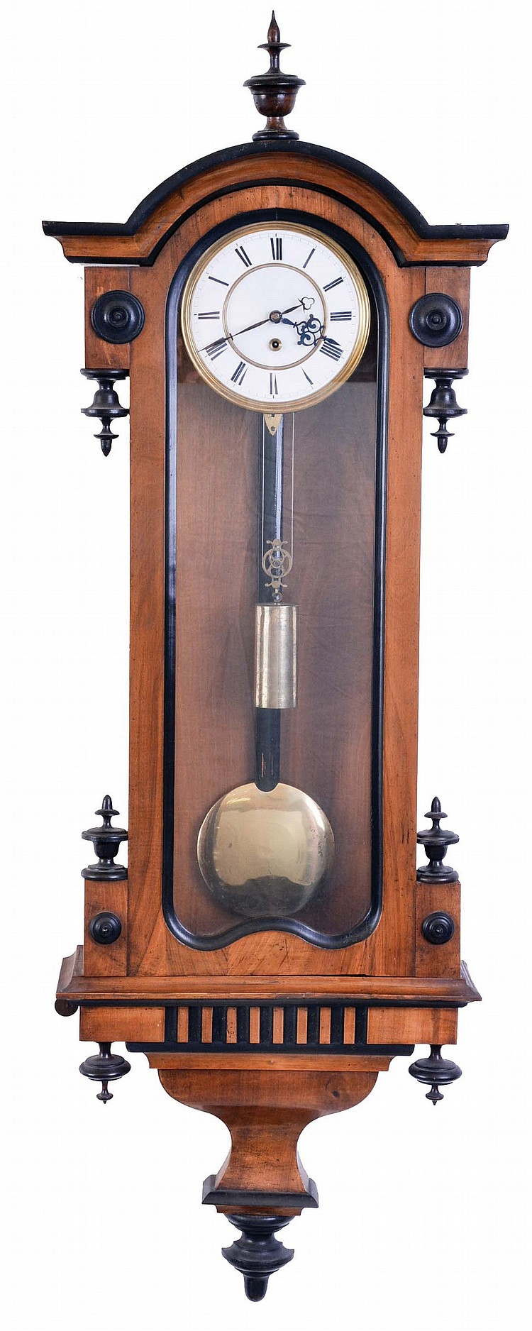 Austria, hanging regulator, walnut case with ebonized moldings, drops, and finial, Roman numeral, two piece white enamel dial, blued steel hands, 8 day timepiece movement with dead beat escapement, brass pendulum with wooden rod, and brass weight