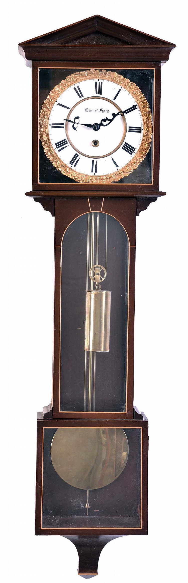 Laterndluhr, nine glass mahogany case, two part Roman numeral enamel dial with gilt bezel, brass pendulum and weight