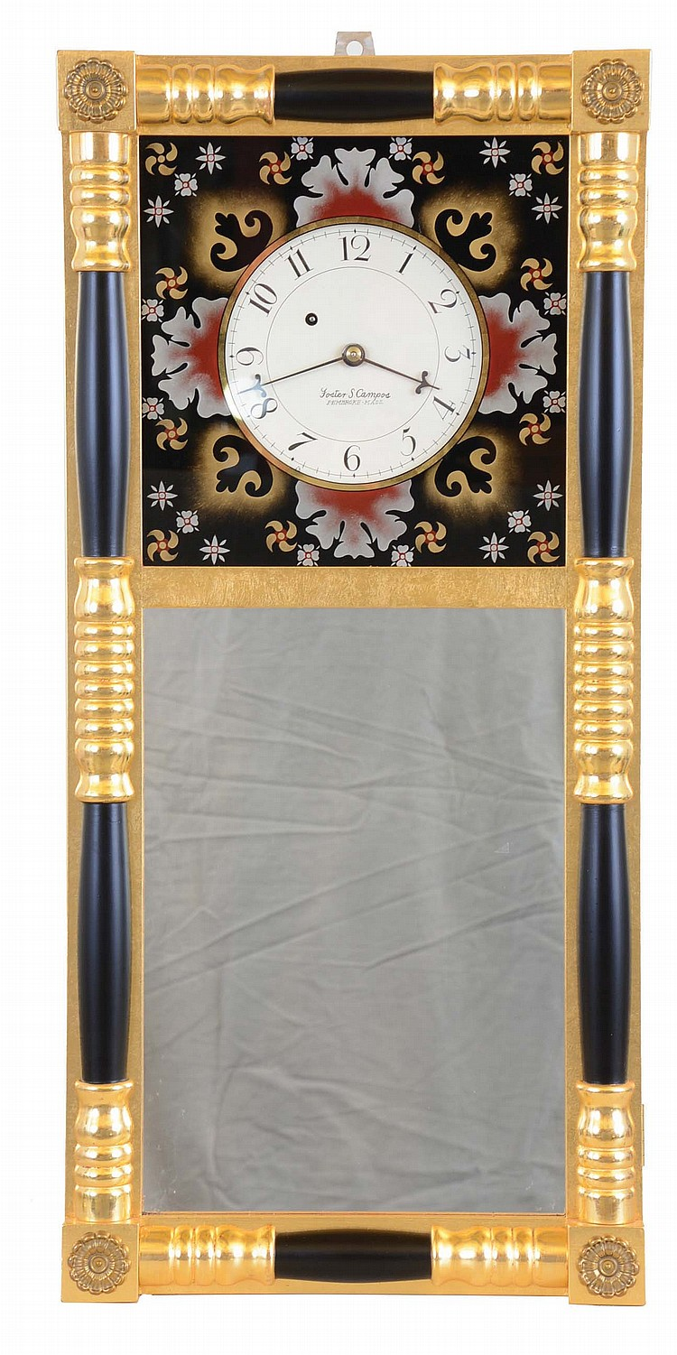 Foster Campos, Pembroke, Mass., copy of an 8 day, weight brass movement New Hampshire mirror clock. Case is stamped