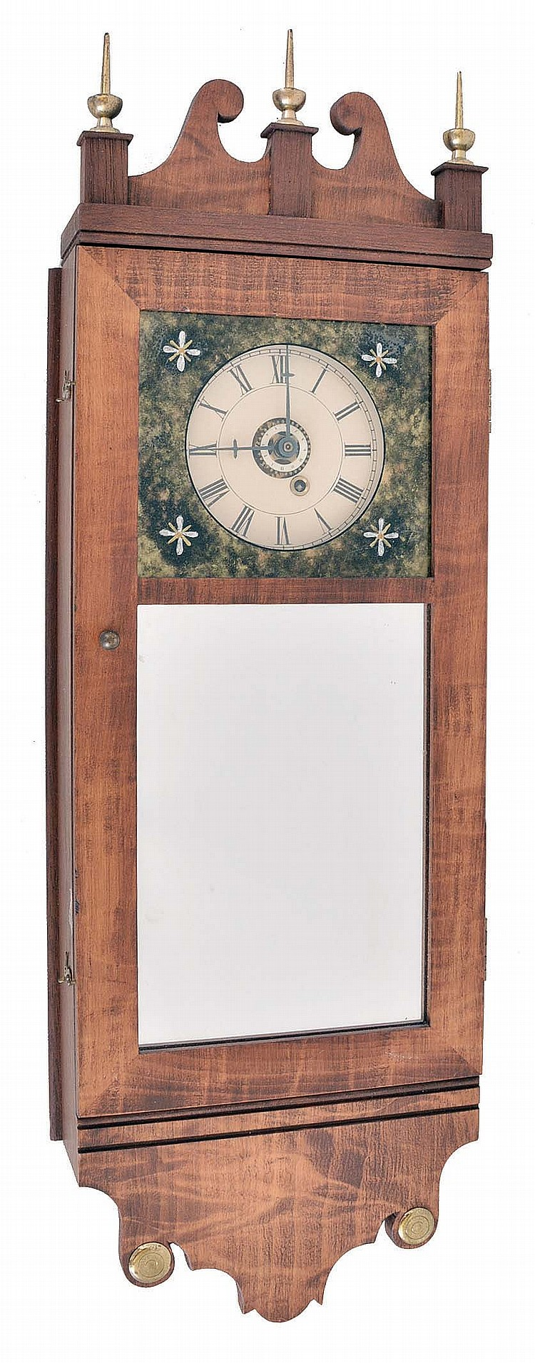 Michael Paul, Berea, Ohio, 30 hour, weight brass movement with weight alarm miniature timepiece copy of a New Hampshire mirror clock. This example is number 9 of 15.