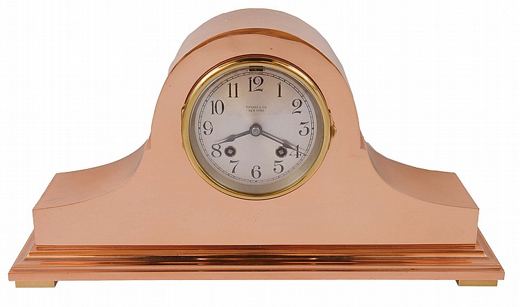 Chelsea Clock Co., Boston, Mass., 8 day, time and house strike spring brass movement tambour style brass case mantel clock retailed by Tiffany & Co., New York. Serial No. 162930, 1924
