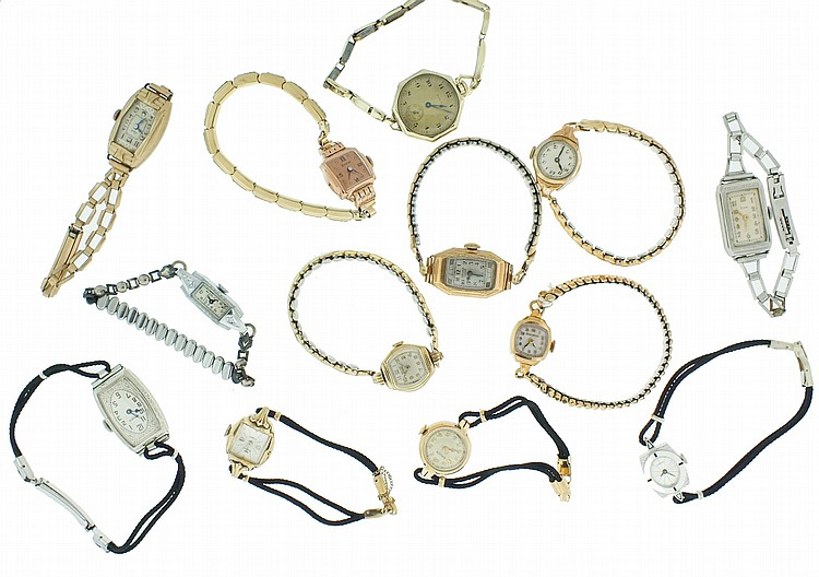 Wrist watches- 26 (Twenty six), lady's watches including Eterna Matic, Movado, Gruen, Wittnauer Bulova, Longines, Waltham, Hamilton, Tavannes, and others, together with three character watches, Cinderella, Hopalong Cassidy, and Mickey Mouse