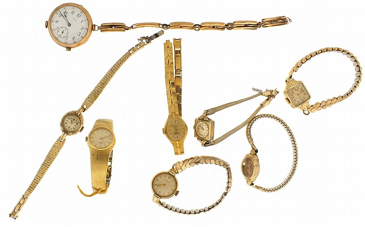 Lot of wrist watches, for parts or restoration, many Swiss makers, metal and enamel dials, silver and gold filled cases, together with a number of empty cases