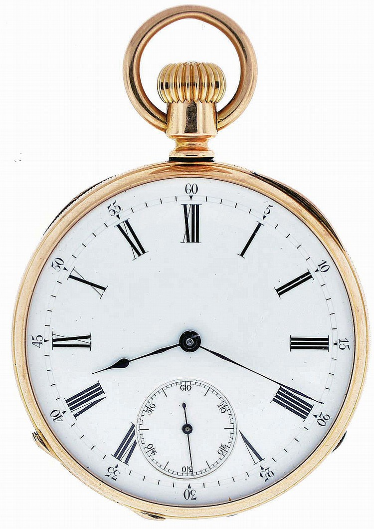 Patek, Philippe & Cie., Geneva, Switzerland, man's pocket watch, 15 jewels, stem wind and set gilt bar movement with lever escapement, cut bimetallic balance, gold timing screws and wolf's tooth winding in an 18 karat, rose gold, reeded edge, open