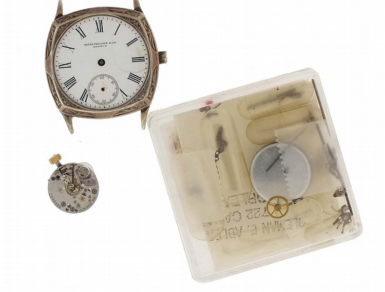 Patek, Philippe & Co., Geneva, Switzerland, two movements and parts, the first a 12 ligne, 18 jewel movement with white enamel dial and silver case, the other a 6 ligne cal. 13.5- 320, 20 jewels movement with gyromax balance, together with a small