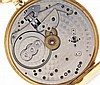 Patek, Philippe & Cie., Geneva, Switzerland, man's gold pocket watch, 18 jewels, stem wind and set, adjusted, cotes de Geneve decorated nickel bar movement with lever escapement, cut bimetallic balance, gold timing screws, wolf's tooth winding and