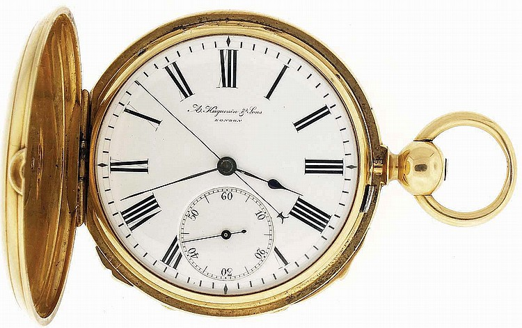 A. Huguenin & Sons, London, man's gold two train, quarter repeating pocket watch with dead seconds, 33 jewels, key wind and set gilt bar movement with lever escapement and cut bimetallic balance with gold timing screws in an 18 karat, yellow gold,