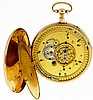Switzerland, man's quarter repeating carillon verge fusee pocket watch with three jacquemarts, key wind and set gilt movement with ornately engraved bottom plate, in an 18 karat, yellow gold, hinged back and bezel, reeded edge open face case and