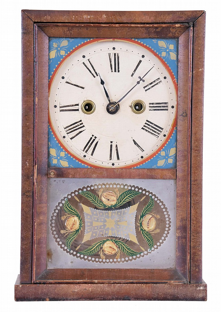 Silas B. Terry, Terrysville, Conn., Cigar Box clock with a 30 hour spring driven time and strike movement in a mahogany veneered case.