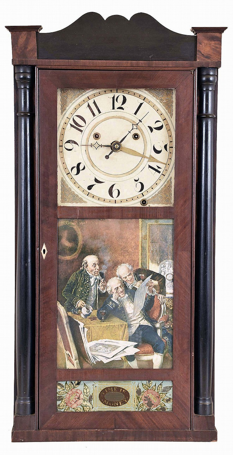 Silas Hoadley, Plymouth, Conn., Tall mahogany veneered case shelf clock with stenciled columns and splat. 30 hour weight driven time, strike and alarm