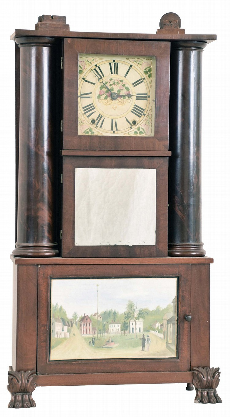 Austin Chittendon, Lexington, Mass., 30 hour, time and strike weight wood movement hollow column shelf clock.