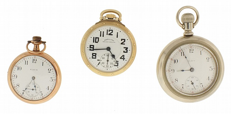 Pocket watches- 3 (Three), the first a 16 size Hamilton 992B, 21 jewel nickel movement, Arabic numeral white enamel dial, gold filled open face case, serial #C134887, the next an 18 size Elgin, 17 jewel nickel movement, Arabic numeral white enamel
