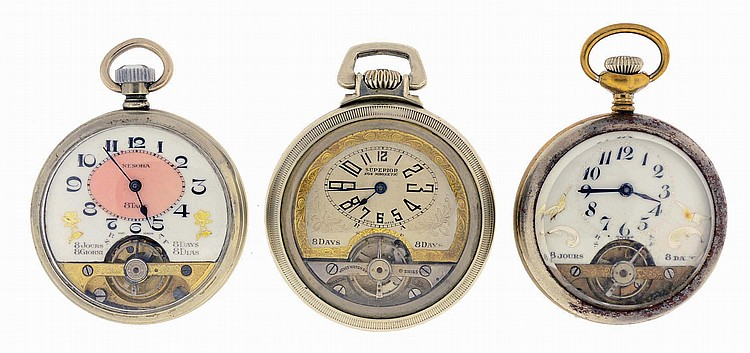 Pocket watches- 3 (Three): All 8 day Hebdomas type, two with Arabic numeral enamel dials, the other with Arabic numeral silvered dial, all in open face cases