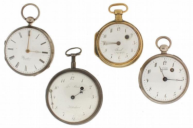 Pocket watches- 4 (Four), all Continental verge fusees, the first signed