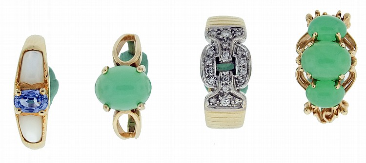 Rings- 4 (Four), all 14 karat yellow gold, two set with cabochon chrysoprase, the ring with single stone size 6, the other size 6 3/4, another set with topaz and mother of pearl, size 8, and the last with white gold link or buckle ornament, set with