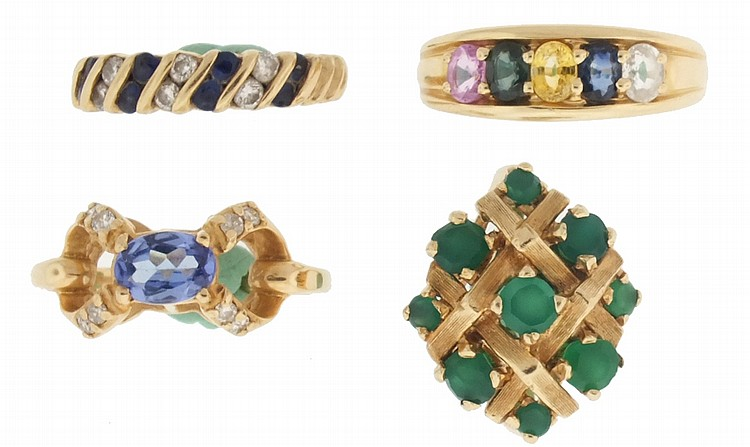 Rings- 4 (Four), all 14 karat yellow gold, the first with basket weave setting containing 9 emeralds, size 6 1/4, the next a mother's ring with five oval, faceted stones, size 7, the next set with alternating pairs of sapphires and diamonds, size 5
