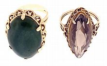 Cocktail rings- 2 (Two), the first in 14 karat yellow gold, with basket form setting supporting a cabochon jade measuring 18 x 25mm, size 6 1/2, the other in 14 karat rose gold, with a marquise cut smoky quartz, measuring 11 x 28mm, size 7 1/2, 20.7g
