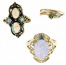 Rings- 3 (Three), all 14 karat yellow gold, one set with a lavender jade cabochon measuring 10 x 14mm, size 8 3/4, the next set with four opals, size 6, and the last set with a tiny emerald and diamond, size 4, 14.3g TW