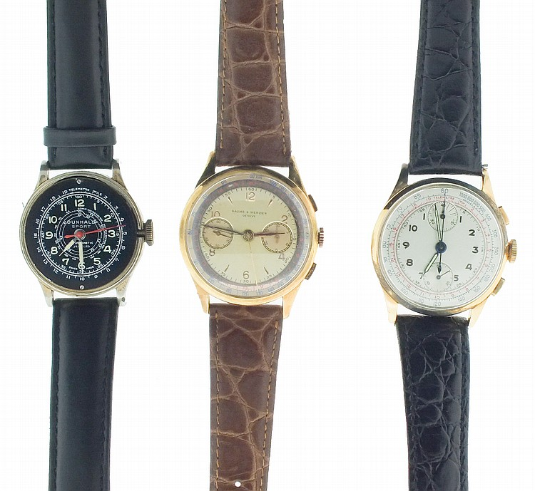 Wrist watches- 3 (Three), two chronographs, the first a Baume & Mercier, 18 karat rose gold case, 17 jewel Landeron 51 movement, gilt metal dial with 30 minute register and constant seconds, gilt leaf hands, the other unsigned, 18 karat yellow gold