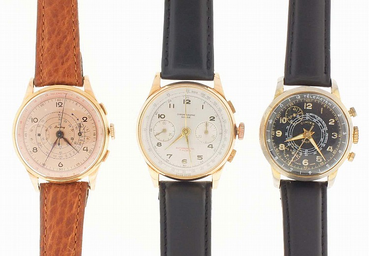 Wrist watches- 3 (Three), two chronographs, the first marked Breitling, 18 karat yellow gold case, 17 jewel nickel movement, gilt metal dial with 30 minute register and constant seconds, blued steel hands, the other marked Chronographe Suisse, 18