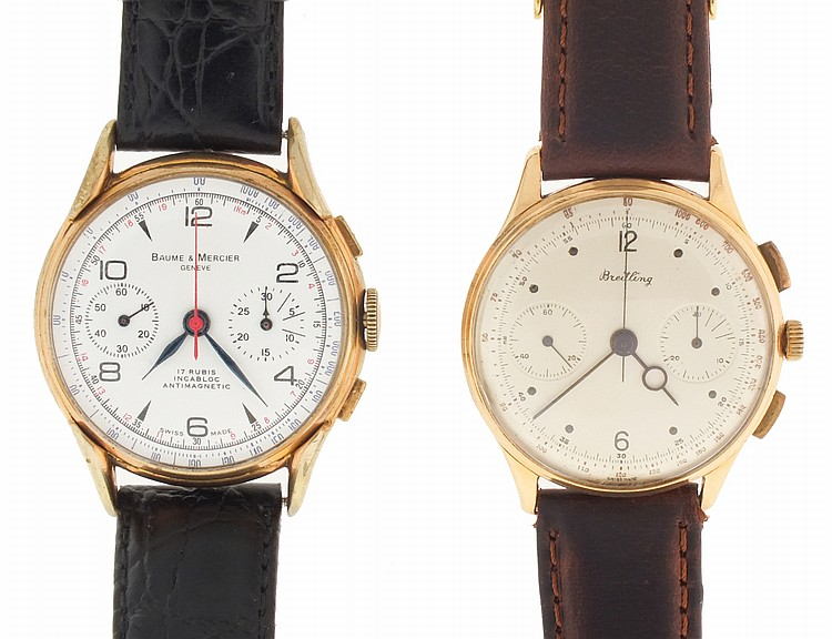Wrist watches- 2 (Two), both chronographs, the first signed Breitling, 18 karat rose gold case, 17 jewel nickel movement, Arabic numeral and dot marker metal dial with 30 minute register and constant seconds, blued steel hands, 48.8g TW, the other a