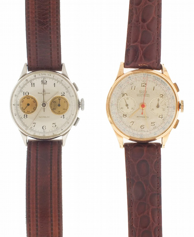 Wrist watches- 2 (Two), both chronographs, the first signed Britix, 18 karat rose gold case, 17 jewel nickel movement, Arabic numeral metal dial with 30 minute register and constant seconds, gold stick hands, 46.2g TW, the other a Baume & Mercier,
