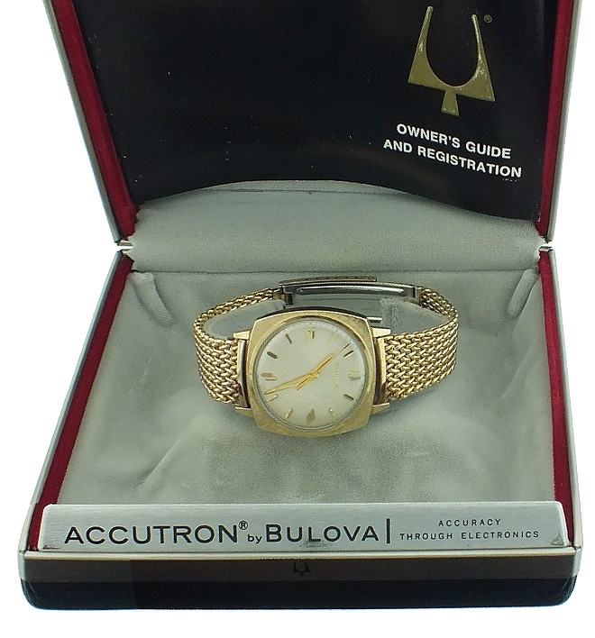 Wrist watches- 3 (Three), all Bulova Accutron, two cal. 214, both with gold filled cases, Accutron bracelets, and baton marker metal dials, one with dresser box and paperwork, the other a 218, also wit gold filled case and baton marker dial, with