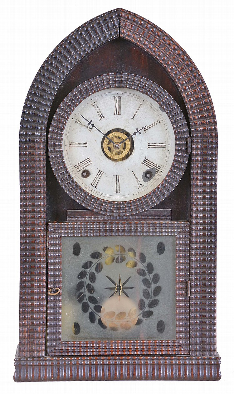 E.N. Welch, (Late J. C. Brown), Forestville, Conn., 8 day, time, strike & alarm ripple molding round gothic or beehive shelf clock in a rosewood case.. [Welch sold off some of Brown's old stock soon after taking over the factory c1858).