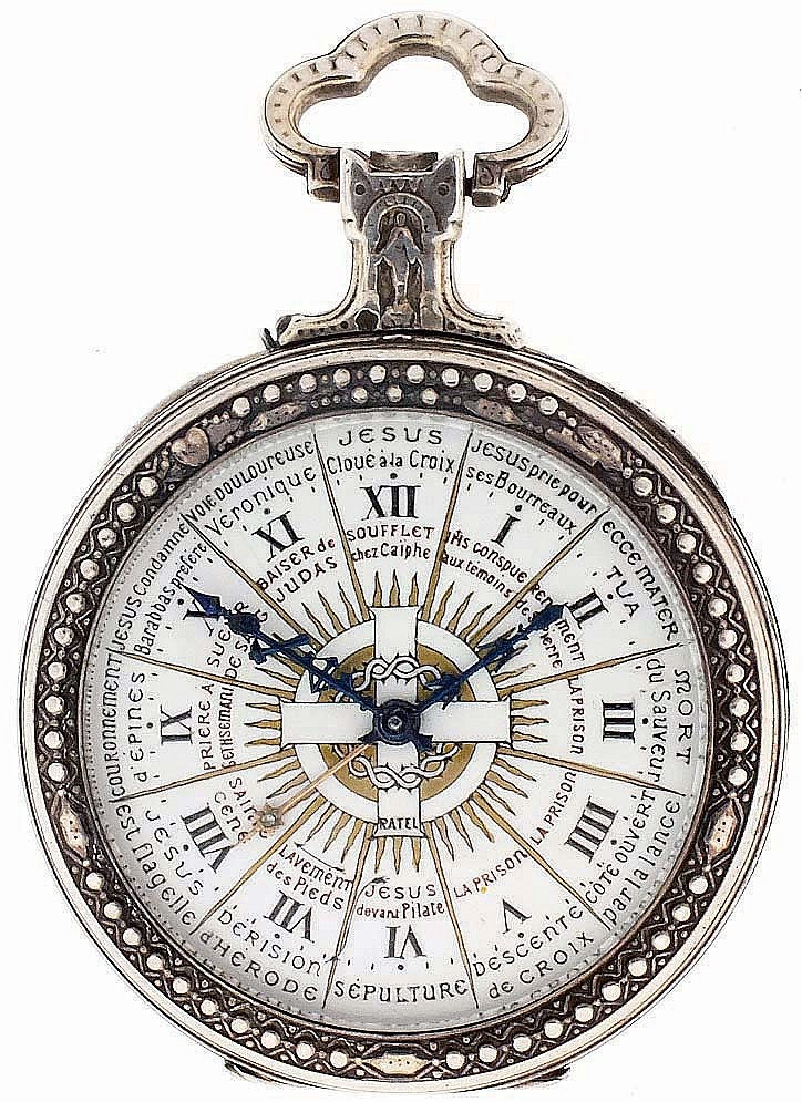Switzerland, for Ratel, Paris, silver pocket watch with Stations of the Cross dial, 10 jewels, stem wind and pin set gilt bar movement with cylinder escapement in a sterling silver, hinged back and bezel, open face case with repousse style ornament,