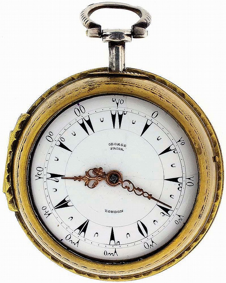 George Prior, London, England, man's verge fusee pocket watch for the Turkish market, key wind and set, gilt, full plate movement with pierced and engraved balance cock, regulator plate and pillars, in an open face pair case, the outer case in brass,