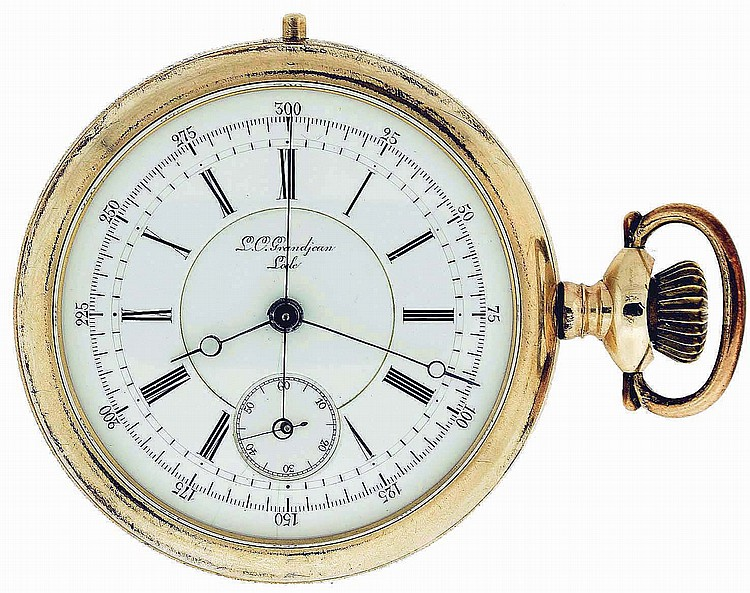 L. C. Grandjean, Locle, Switzerland, man's chronograph pocket watch, 16 jewels, stem wind and lever set, damascened nickel plate movement with lever escapement, cut bimetallic balance and wolf's tooth winding in a yellow gold filled, screw back and
