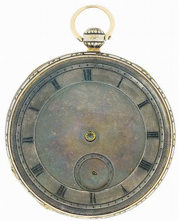 Switzerland, man's gold and enamel pocket watch, 6 jewels, key wind and set, gilt Lepine calibre movement with cylinder escapement in an 18 karat, rose gold, hinged back and bezel, open face case with black and white enamel decoration and Roman