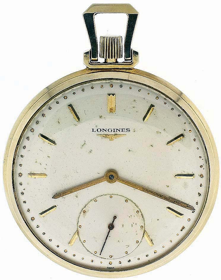 Longines, Switzerland, man's pocket watch, 17 jewel nickel plate movement with lever escapement in a 14 karat, yellow gold open face case and baton marker, single sunk metal dial, gilt baton hands, serial #10319956, 44mm, 52.8g TW, c1950.