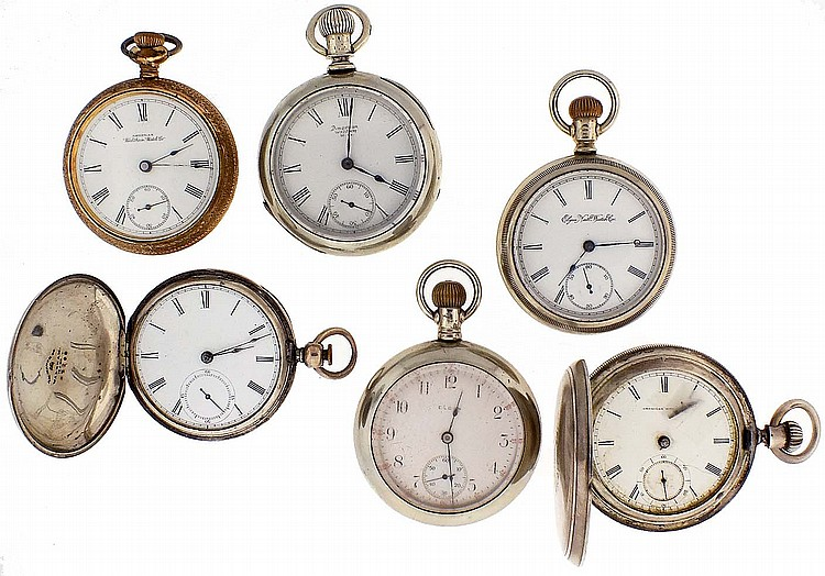 Pocket watches- 6 (Six), all 18 size, Elgin and Waltham, 7- 17 jewel nickel and gilt movements, white enamel dials, coin silver, nickel, and gold filled hunting and open face cases
