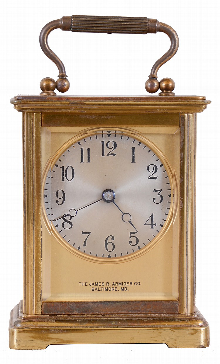 Chelsea Clock Co., Boston, Mass., for the James R. Armiger Co., Baltimore, Md., carriage clock, Corniche style case with engraved memorial inscription, beveled glasses, Arabic numeral silvered dial, blued steel Breguet style hands, 8 day timepiece