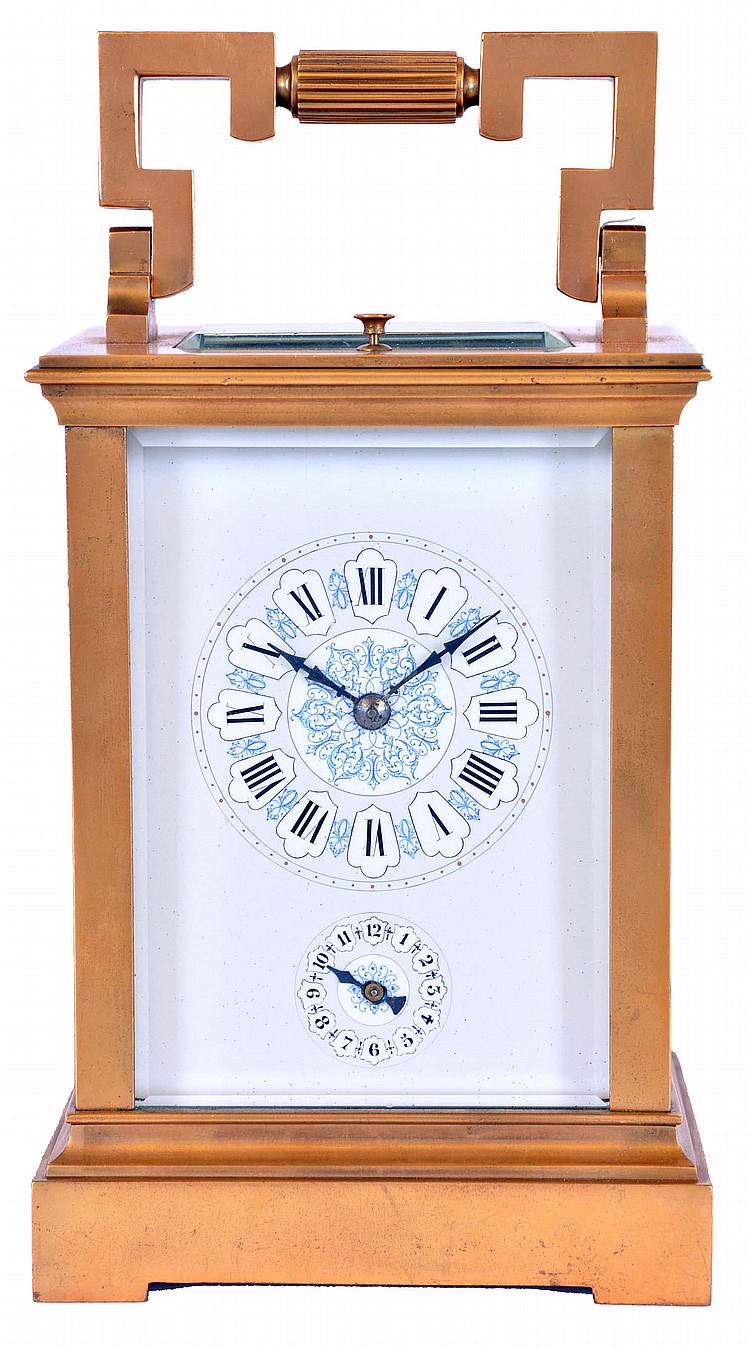 France, hour repeating carriage clock, gilt Anglaise case with bevelled glasses, Roman numeral enamel dial with faux cartouches, and Arabic alarm chapter below, blued steel distaff style hands, 8 day time, strike, and alarm movement with lever