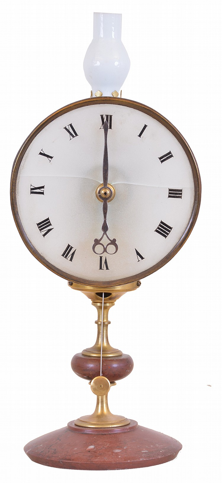 France or Germany, night clock, the timepiece with red marble base and turned brass stand, Roman numeral frosted glass dial, 30 hour movement with one hand, and a small lamp, which illuminates the dial