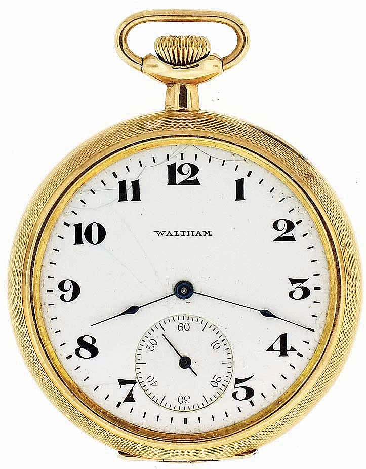 American Waltham Watch Co, Waltham, Mass., gold pocket watch, 12 size, 15 jewels, stem wind and set, damascened nickel plate movement with lever escapement in a 14 karat, yellow gold, hinged back and bezel, engraved, open face case and Arabic