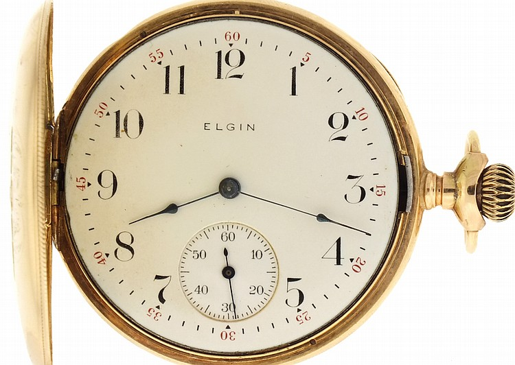 Elgin Watch Co., Elgin, Illinois, 16 size, 15 jewels, stem wind and set, damascened, nickel plate movement with lever escapement, cut bimetallic balance and micrometric regulator in a 14 karat, four color gold hunting case and Arabic numeral, outer