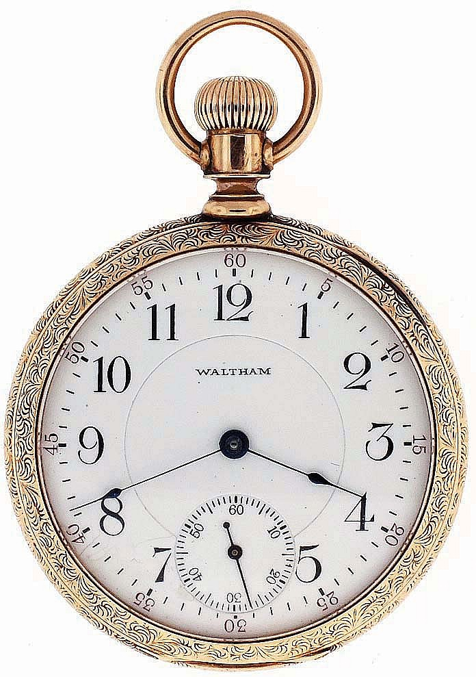 American Waltham Watch Co., Waltham, Mass., man's pocket watch, 16 size, 17 jewels, stem wind and set, adjusted, damascened nickel plate movement with lever escapement, cut bimetallic balance, gold jewel settings, gold timing screws and Church