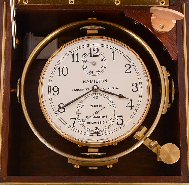 Hamilton Watch Co., Lancaster, Penn., model 21 marine Chronometer, 14 jewel key wind and set, straight line damascened nickel plate movement, with spring detent escapement and Chronometer balance with helical hairspring, Arabic numeral metal dial