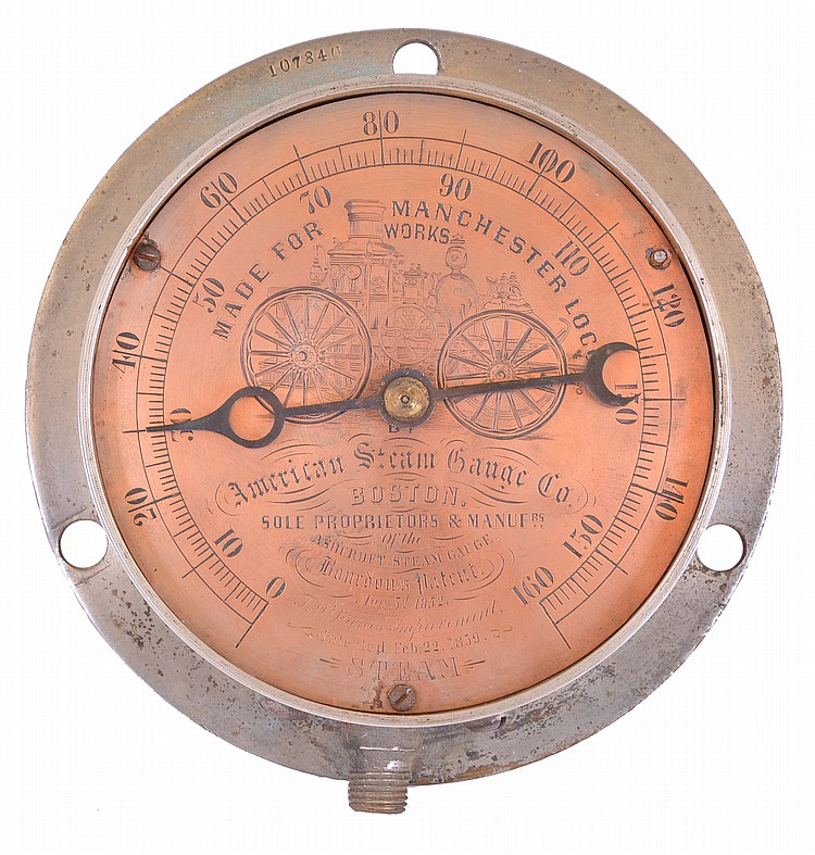 American Steam Gauge Co., Boston, Mass., steam gauge in brass case with 5 1/4