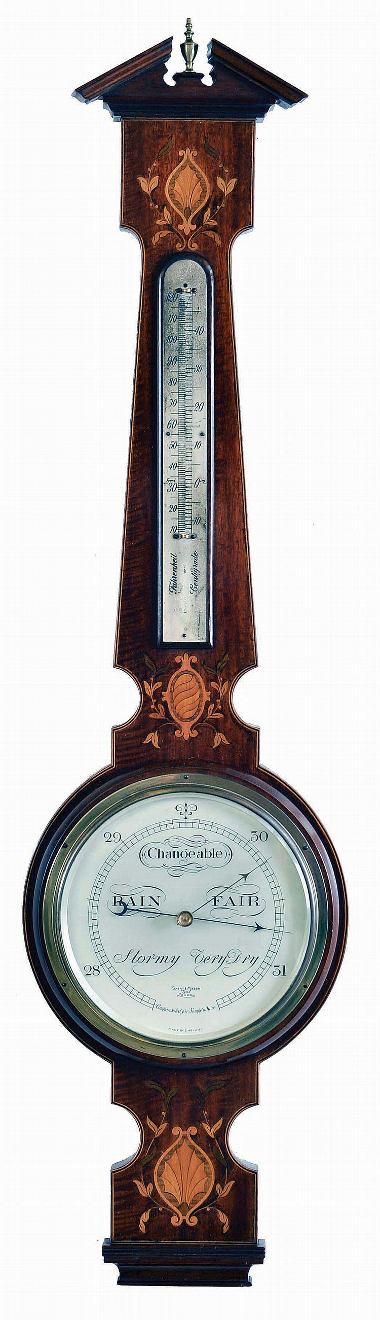 Short & Mason, London, aneroid barometer and thermometer.