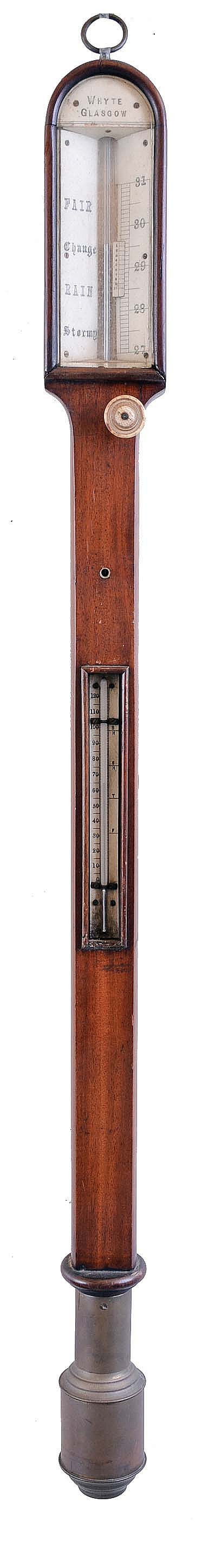 Whyte, Glasgow, Scotland gimballed marine mercury stick barometer with thermometer inset in midle of mahogany case