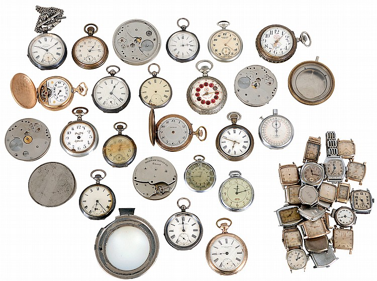 Large lot of pocket and wrist watches, including some for parts