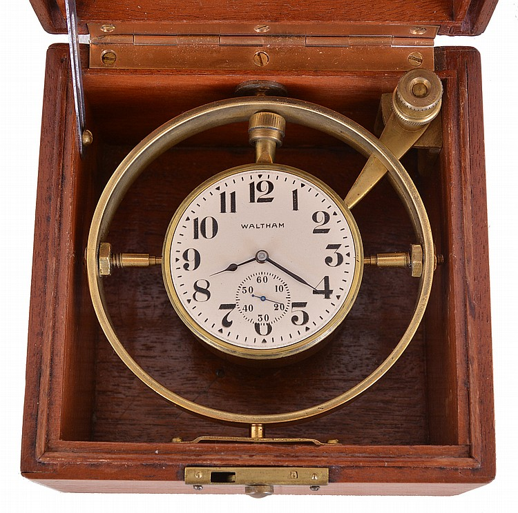American Waltham Watch Co, Waltham, Mass., boxed 30 hour deck watch, 18 size model 1883, 15 jewel, damascened nickel plate movement, Arabic numeral metal dial, blued steel spade and poker hands, the timepiece contained in a brass tub with gimbal and