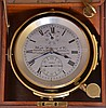 Whyte, Thomson & Co., Glasgow, Scotland, two day marine chronometer with boxes and certificate, the fusee movement with spotted plates, Z balance, helical balance spring, and spring detent, Roman numeral silvered dial with wind indicator, blued steel